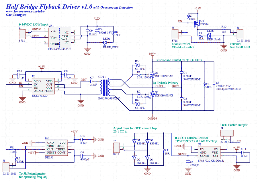 Half Bridge Flyback Driver with Over Current Protection