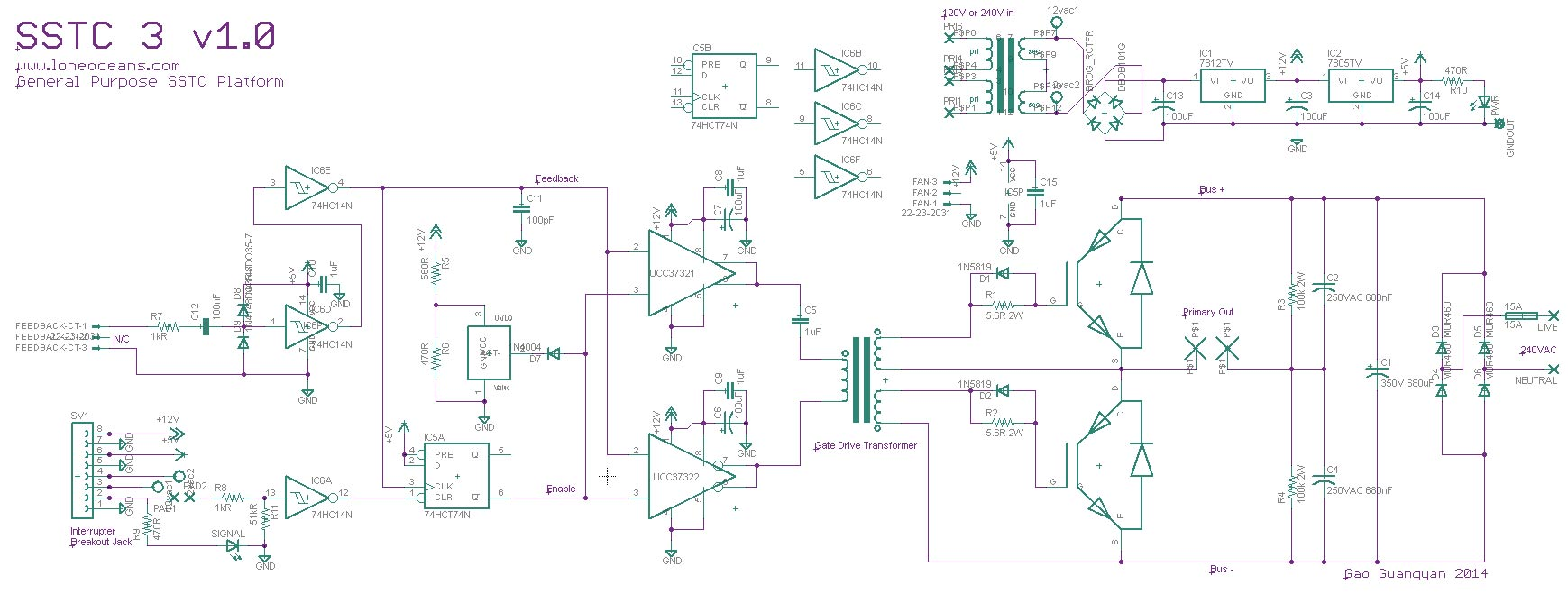 Ramped Sstc 3 Qcw Like Sparks Loneoceans Laboratories Here The Circuit Diagram Of Solid State Tesla Coil With 555 Timer Heres A Quick Description Top Right Describes General Low Voltage Power Supply Providing 12v For Gate Drivers And Fan