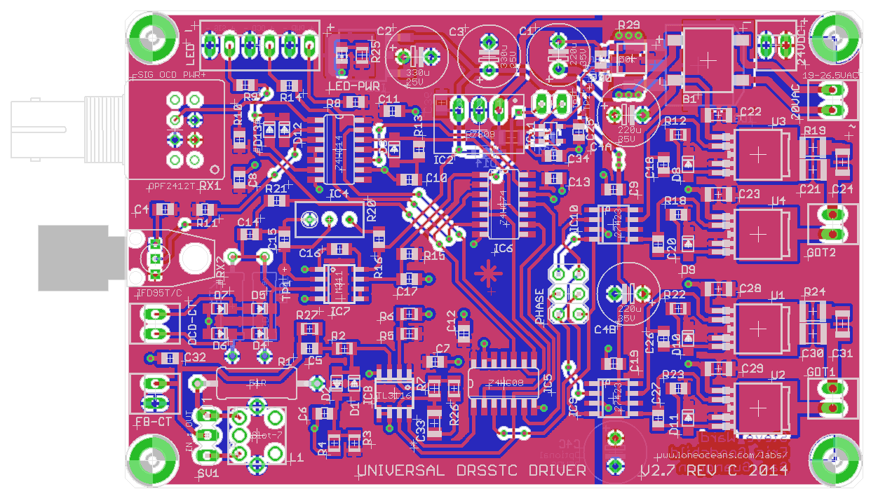Universal Drsstc Driver 27 Transformer Tesla Coil On Induction Heater Schematic Diagram Board Layout Of Ud27c Showing Top Traces Red And Bottom Blue With Silkscreen White